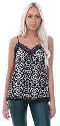 Jdy Black /Leopard Singlet Lace Swing Top
