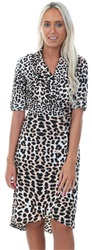 Influence Leopard Print Side Button Midi Dress