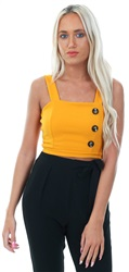 Parisian Mustard Button Fitted Crop Top