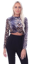 Qed Tan/Navy Velvet Twist Front L/Sleeve Crop Top