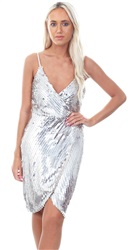 Girl In Mind Silver Sequin Embellished Mesh Dress