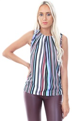Influence Muti Button Down Back Stripe Top