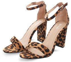 Brown Leopard Print Block Heeled Shoe by No Doubt