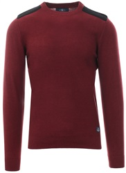 Holmes & Co Burgundy Marl Round Neck Knitted Sweater