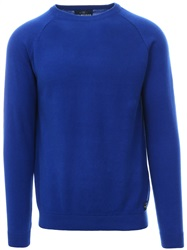 Holmes & Co Blue Round Neck Knitted Sweater
