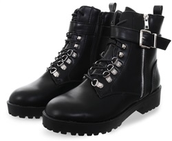 No Doubt Black Lace Up Buckle Military Boot