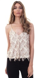 Missi Lond Gold Tassel Gold Chain Cross Back Sequin Top