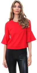 Cutie London Red Cut Out Bell L/Sleeve Top