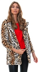Qed Tan / Black Leopard Print Faux Fur Coat