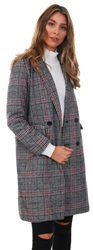 Qed Grey / Red Marl Check Brushed Comb Long Coat