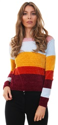 Qed Multi Stripe Colour Block Knit Crew Jumper