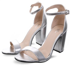 4th & Reckless Silver Sarah Basic Single Strap Block Heel Sandal