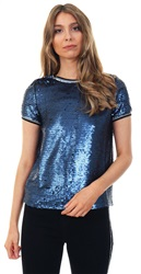 Daisy St Navy Sequin Ringer Short Sleeve Top