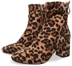 No Doubt Brown Leopard Print Hoop Zip Ankle Boot