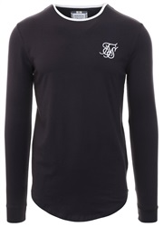 Siksilk Navy Ringer Long Sleeve Gym Tee