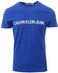 Calvin Klein Cobalt Blue Slim Cotton Logo T-Shirt