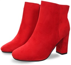 Krush Red Side Zip Up Heeled Ankle Boot