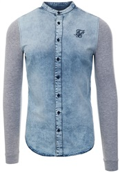 Siksilk Grey Marl Denim L/Sleeve Oxford Shirt