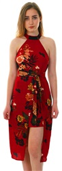 Ax Paris Wine Floral Tie Belt Choker Dress
