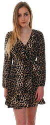 Missi Lond Multi Leopard Print Frill Wrap Dress
