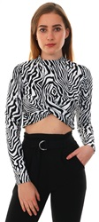 Glamorous White Black Zebra L/Sleeve Fitted Twist Crop Top