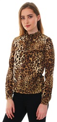 Fashion Union Animal Print Tie High Neck L/Sleeve Top
