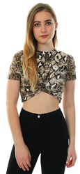 Glamorous Brown Snakeskin Twist S/Sleeve Crop Top