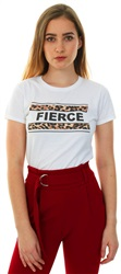 Daisy St White / Brown Fierce Logo S/Sleeve T-Shirt