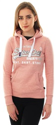 Superdry Dusty Rose Shirt Shop Sequin Pullover Hoodie