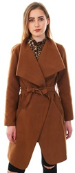 Parisian Tobacco Waterfall Collar Tie Waist Long Jacket