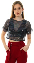 Parisian Black Sequin Trim Mesh Fabric Frill Sleeve Sheer Top