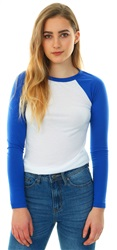 Brave Soul Electric Blue Raglan L/Sleeve Fitted T-Shirt