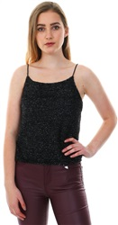 Parisian Black Embellished Fitted Cami Top
