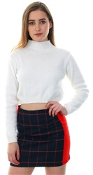 Glamorous Red / Navy Tartan Check Mini Skirt