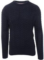 Superdry Navy Twist Jacob Cable Knit Jumper