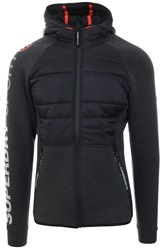 Superdry Carbon Black Gym Tech Stretch Hybrid Hoodie