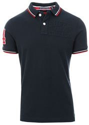 Superdry Eclispe Navy Classic Super Tri Short Sleeve Polo Shirt