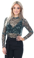 Veromoda Ivy Green/ Camo Tina Mesh Long Sleeve Top