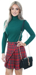 Miss Truth Red Tartan Front Button Skirt