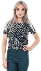 Missi Lond Black Sequin Sheer Short Sleeve Top