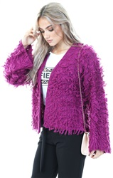Noisy May Holly Hock /Purple Knitted Tassle Cardigan