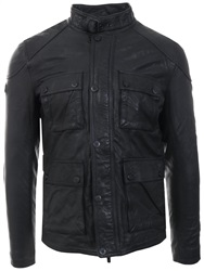 Superdry Black Rotor Leather 4 Pocket Jacket
