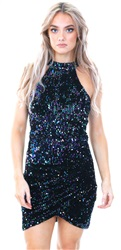 Ax Paris Black Sequin High Neck Bodycon Dress