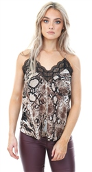 Style London Brown /Black Snake Print Lace Cami Top