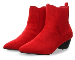 No Doubt Red New Suede Pointed Slip On Boot