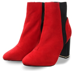 No Doubt Red New Suede Over The Ankle Slip On Boot