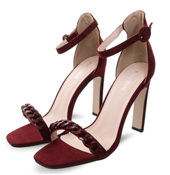 Public Desire Burgandy Faux Teddy Open Toe Heeled Shoe
