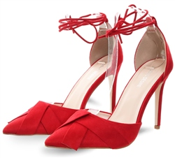 Public Desire Red Rico Lace Up Stiletto Court Suede Heel