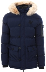 Siksilk Navy Parka Padded Zip Up Faux Fur Hooded Coat
