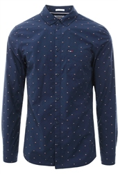 Hilfiger Denim Black Iris Dobby Printed Button Shirt